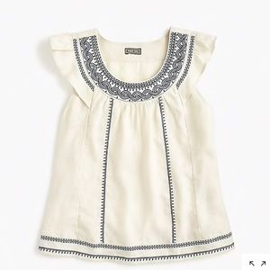 J. Crew point sur embroidered linen flutter top